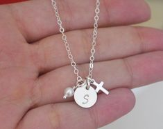 Dainty Cross Necklace Personalized Cross Necklace by MadiesCharms