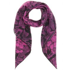 The purple and black floral-print on Bottega Veneta's silk-crepe scarf makes it a statement accessory for day and night.