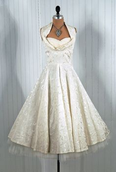 1950's Vintage Coquette Couture Shelf-Bust Halter White party dress. Brocade satin halter dress. www.etsy.com/...