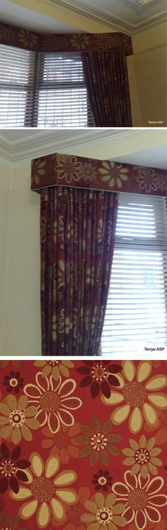 Neat Layering - Upholstered Pelmet mitered into a bay window with full length dress curtains beneath and individual functional Venetian blinds inside the bay in Hip Hop Scarlet fabric. http://www.terrysfabrics.co.uk/prod/curtain-fabrics/chenile-woven/hip-hop-scarlet-curtain-fabric/