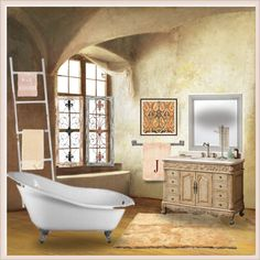 Old World Beauty. by tjclay3 on Polyvore featuring interior, interiors, interior design, home, home decor, interior decorating, UGG, Avanti, Bath Bazaar and Mark & Graham