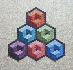 Hexagon Cubes Wall hanging Quilt- 3D design on a colorful modern quilt- Optical Illusion Quilt
