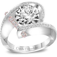 Mesa Jewelers - Claude Thibaudeau 18K White and 18K Rose Gold Diamond Ring, $7,039.00 (http://www.mesajewelers.com/claude-thibaudeau-18k-white-and-18k-rose-gold-diamond-ring/)