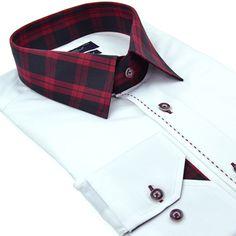 Chemise blanche cintrée Cotton Park col carreaux rouge et noir