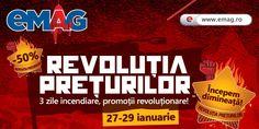 EMAG - Revolutia Preturilor !!!!! REDUCERI DE PÂNA 50% !!! Revolutia preturilor incepe dimineata! 3 zile incendiare, promotii revolutionare! Promotiile sunt valabile in perioada 27-29 ianuarie 2015 in limita stocului disponibil. OFERTA COMPLETA AICI  http://profitshare.ro/l/1302606