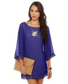 Lovely Royal Blue Dress - Shift Dress - $41.00