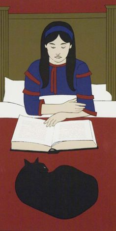 Child Reading Red 1970 by Will Barnet