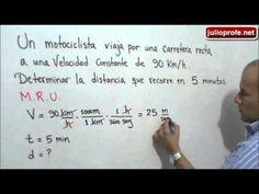 Problema sobre Movimiento Rectilíneo Uniforme: Julio Rios explica el siguiente problema de Cinemática: Un motociclista viaja por una carretera recta a una velocidad constante de 90 km/h. Determinar la distancia que recorre en 5 minutos