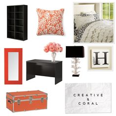 coral bedroom set! #coral #bedroom #black #mirror