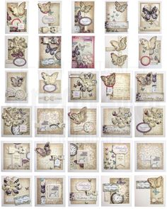 Time Flies - thirty cards and a gift box made from Craftworks Cards 'Time Flies' paper pack and elements pack by Neil Burley Atc Cards, Greeting Cards, Envelopes, Craftwork Cards, Candy Cards, Butterfly Cards, Scrapbook Cards, Scrapbooking, Card Sketches