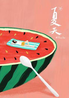 Japan Illustration, Illustration Noel, Business Illustration, Graphic Design Illustration, Gifs, Stock Design, Watermelon Art, Graphic Wallpaper, Cute Gif