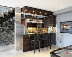 40 Inspirational Home Bar Design Ideas For A Stylish Modern Home Simple home bar design placed in space under staircase. 40 Inspirational Home Bar Design Ideas For A Stylish Modern Home Small Basement Bars, Small Basement Design, Basement Bar Designs, Modern Basement, Basement Ideas, Basement Decorating, Playroom Ideas, Rustic Basement, Rustic Room