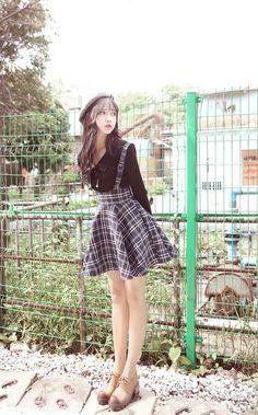 Korean High Waist Plaid Jumper Skirt - Source by quinngeorgina - Ulzzang Girl Fashion, Korean Girl Fashion, Korean Fashion Trends, Korean Street Fashion, Cute Fashion, Look Fashion, Fashion Outfits, Japanese Outfits, Korean Outfits
