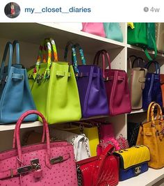 Hermes is a brand known for its quality leathers but another factor that makes Hermes stand out is the brand's impeccable attention to vibrant, rich colors. Hermes Birkin, Hermes Bags, Hermes Handbags, Purses And Handbags, Mk Bags, Luxury Purses, Luxury Bags, Sacs Design, Looks Chic