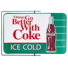 Bracketed Spinner Metal Coke Sign⎜Open Road Brands