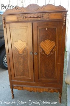 I updated this small armoire with a very beat-up finish using Versailles chalk paint. My favorite part though is the chalkboard and corkboard treaments to the i…