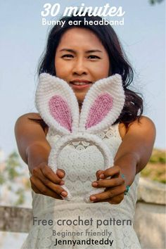 Crochet Rabbit bunny ear crochet headband free pattern by jennyandteddy - If you are looking for some Free Easter Crochet Patterns you are in the right place. We've included Easter Crochet Baskets and more. Check them out now. Crochet Amigurumi, Crochet Bunny, Crochet For Kids, Crochet Hats, Crochet Baskets, Crochet Braids, Crochet Hair Accessories, Crochet Hair Styles, Crochet Headband Free