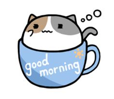 This is a cute cat sticker of entering into the tea cup.