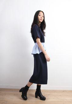 Zacro Contrast Peplum Waist Wide Leg Jumpsuits-BOTTOMS-Drive Store