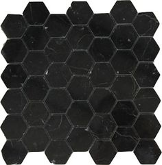 $11.45SF Premium Black Hexagon Marble Mosaic Tile.  New for 2013.