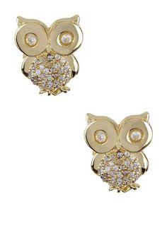 Little CZ Owl Post Earrings