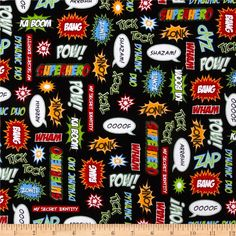 Superhero Action Words Adventure from @fabricdotcom  Designed by Illustration Ink for Robert Kaufman, this cotton print features a text motif.  Perfect for quilting, apparel and home décor accents.  Colors include black, red, grey, lime, blue, yellow and white.