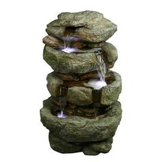 Yosemite Home Decor 32 Inch Tiered Rock Polyresin Fountain - CW11013. Yosemite Home Decor 32 Inch Tiered Rock Polyresin Fountain - CW11013 Water flows down four small tiers Product Specifications Dimensions 14.96 D x 17.7 W x 31.496 H (inches) Compostion 70% Polyresin, 25% Stone Powder, and .. . See More Outdoor Fountains at http://www.ourgreatshop.com/Outdoor-Fountains-C747.aspx