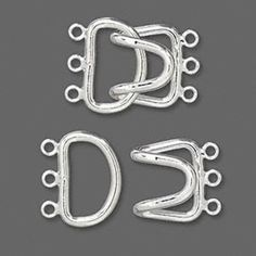 Hook-and-Eye Large Silver Plated 3-strand Jewelry Clasps  2 sets #Unbranded