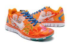 Womens Nike Free Tr Fit Orange White Blue Training Shoes #Orange #Womens #Sneakers