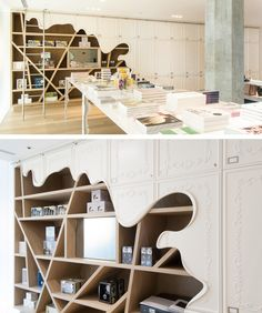 Melted display shelves / SECRET LOCATION store by B+H