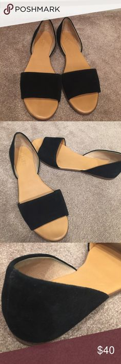 Black j Crew sandals flat J Crew open toed flat D'orsay sandals in black suede, wore twice, excellent condition. J Crew Shoes Sandals