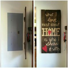 Who is interested in hiding the electric box from the light? Many of us have a horrible electrical panel in the hall of our home. Electric Box, Breaker Box, Küchen Design, Covered Boxes, Basement Remodeling, Basement Ideas, Home Projects, Diy Home Decor, Home Improvement
