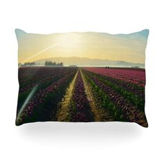 "Robin Dickinson ""Here Comes The Sun"" Flower Landscape Oblong Pillow"