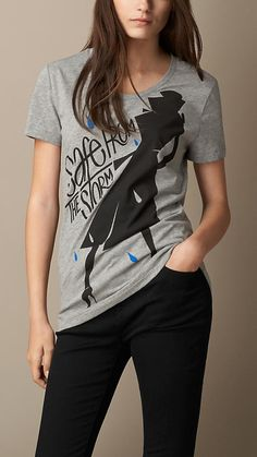 Burberry Brit Weather Graphic Cotton T-Shirt