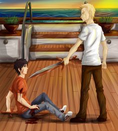 "Art on Rick Riordan's book Percy Jackson: Sea of Monsters. The battle between Percy and Luke on the ""Princess Andromeda"" ship. Percy Jackson Fan Art, Percy Jackson Memes, Percy Jackson Fandom, Magnus Chase, Solangelo, Percabeth, Luke Castellan, Sea Of Monsters, Jason Grace"