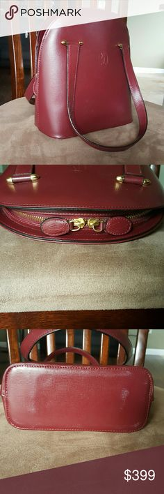 Cartier Bag Wine Red Leather Gold Accents Vintage Cartier Bag, Small Tote Evening Bag, Normal Wear, Light Scratches and Light discoloration on Bottom Cartier Bags