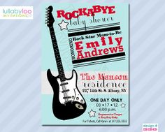 Rock Abye Baby Shower Invitations:  Product No. 330 - Rock Star - Rock n Roll Baby Shower