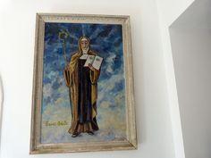 Vintage French religious signed oil painting saint Odile Odilia Ottilia with frame, LARGE devotional wall art decor, saint of good eyesight Catholic Gifts, Catholic Art, Religious Art, The Good Catholic, French Signs, Blue Home Decor, French Vintage, Shades Of Blue, Wall Art Decor