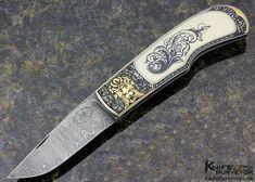 Steve Hoel Custom Knife Scrimshawed Mammoth Interframe Lockback Engraved with Sculpted Built Up 24Kt Gold by Franz Marktl - Steve Hoel custom knife - image 1
