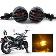 DWCX Motorcycle 2pcs Bullet Grille Turn Signal Light Blinker Indicator for Harley models Bobber Cafe-race Chopper Funbike style #Affiliate