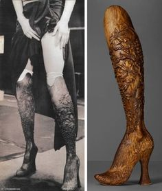 McQueen made this ensemble with carved prosthetic legs for Aimee Mullins. Mullins is a world-class Paralympic athlete, and she modeled the boots for his 1999 show, No. 13.