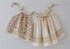Girls Natural Linen and Lace Ivory SkirtSpecial by ChasingMini