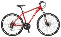 Schwinn GTX 2.0 700c Men's Dual 18 Sport Bike, 18-Inch/Medium, Red. Schwinn aluminum dual sport frame with Schwinn suspension fork offers versatile riding. Shimano 21 speed trigger shifters with Shimano rear derailleur for precise gear shifting. Front and rear disc brake for extra stopping power. Schwinn alloy crank offers optional graring. Alloy wheels with Schwinn multi use tires for use on or off road.