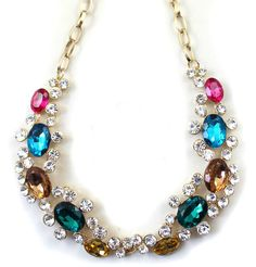 Aliexpress.com : Buy fashion accessories banquet fashion gold multicolour gem sparkling rhinestone short design necklace from Reliable design necklace suppliers on Jessie's shop. $7.89