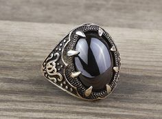 925 K Sterling Silver Man Ring  Black Onyx Gemstone 26.54$