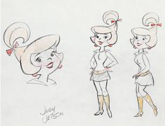 George, his boy Elroy, daughter Judy, Jane (his wife). Oh, and Astro. Famous Cartoons, Retro Cartoons, Classic Cartoons, Vintage Cartoon, Animated Cartoons, Character Model Sheet, Character Modeling, Character Drawing, William Hanna