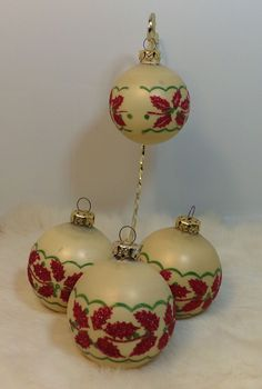 Vintage THE VICTORIA COLLECTION Red Glitter Holly Leaves Christmas Ornaments   | eBay