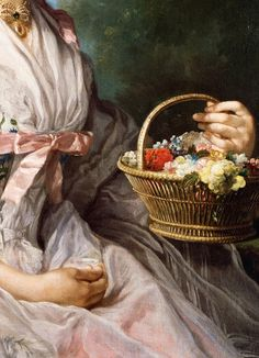 George Knapton. Detail from Portrait of Lucy Ebberton, 1750.