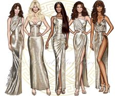 The Tops Icons of the 90s ' together again for the tribute has Gianni Versace in the Versace S/S 2018 show Naomi Campbell, Claudia Schiffer, Cindy Crawford, Carla Bruni, & Helena Christensen digital drawing by David Mandeiro Illustrations