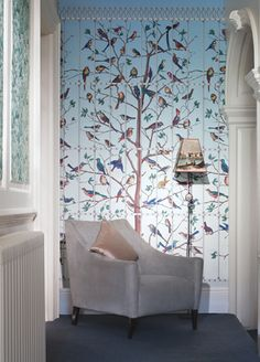 Uccelli wallpaper from Cole & Sonj. . If I am not allowed anything to bold.  I thought this could be nice in the kitchen nook area.  As there is a large blank wall and think need something to liven it uo